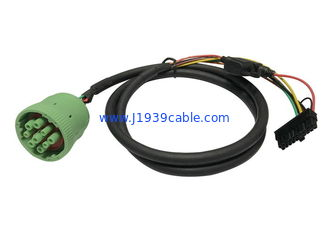Cina Green Deutsch J1939 Cable Female To Molex Dengan Fuse, RoHS Approval pemasok